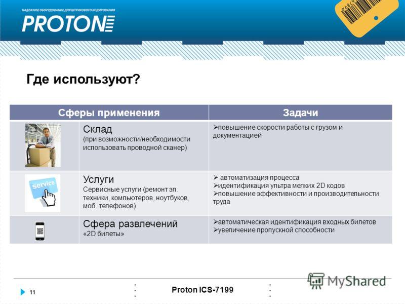 11 Proton ICS-7199 Где используют? Сферы примененияЗадачи Склад (при возможности/необходимости использовать проводной сканер) повышение скорости работы с грузом и документацией Услуги Сервисные услуги (ремонт эл. техники, компьютеров, ноутбуков, моб.