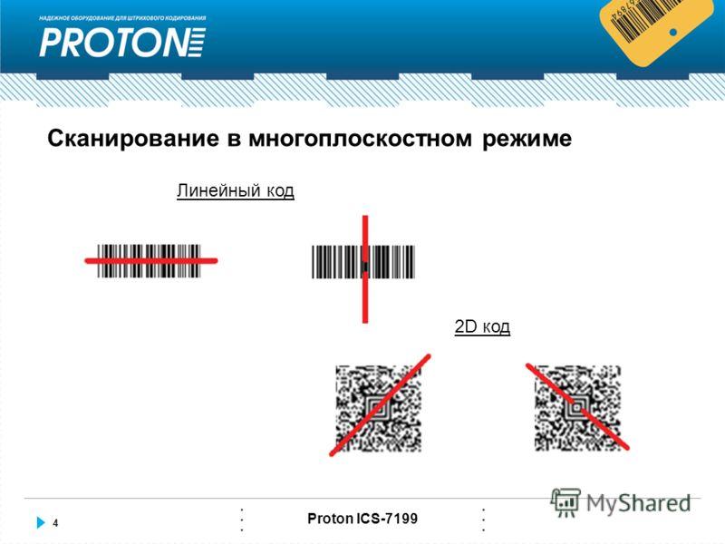 4 Proton ICS-7199 Сканирование в многоплоскостном режиме Линейный код 2D код