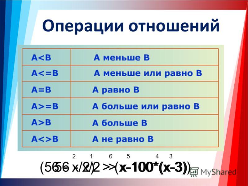 Операции отношений 56 - х/2 > x-100*(x-3) 123456 (56 - х/2) > (x-100*(x-3))