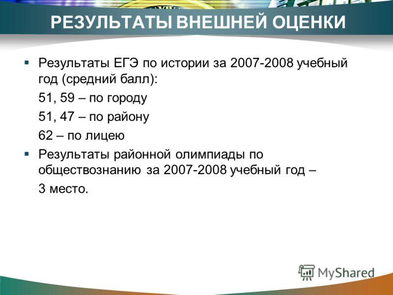 РЕЗУЛЬТАТЫ ВНЕШНЕЙ ОЦЕНКИ Результаты ЕГЭ по истории за 2007-2008 учебный год (средний балл): 51, 59 – по городу 51, 47 – по району 62 – по лицею Результаты районной олимпиады по обществознанию за 2007-2008 учебный год – 3 место.