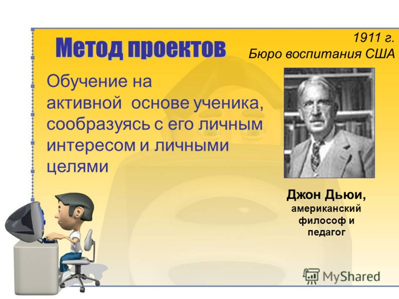 Метод проектов Обучение на активной основе ученика, сообразуясь с его личным интересом и личными целями Джон Дьюи, американский философ и педагог 1911 г. Бюро воспитания США