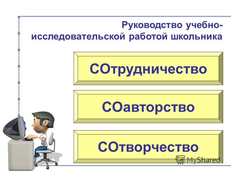 СОтрудничество СОавторство СОтворчество Руководство учебно- исследовательской работой школьника