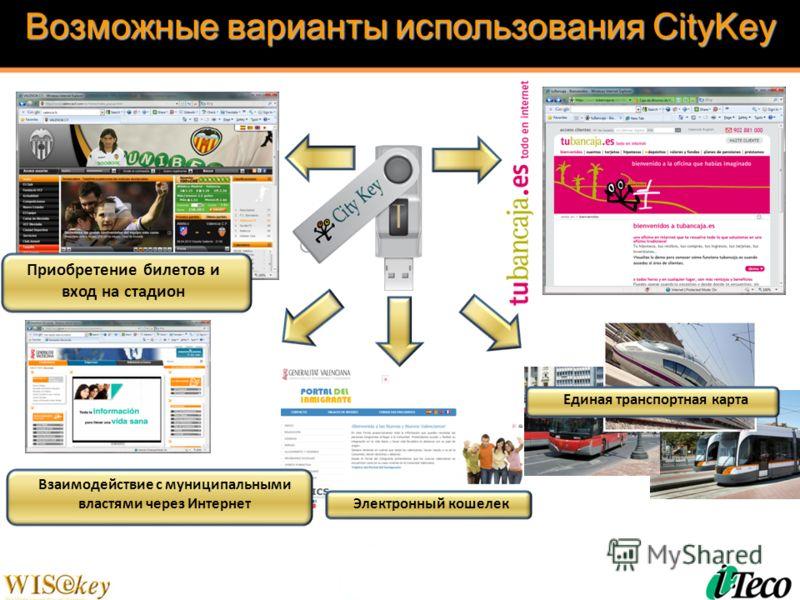 Возможные варианты использования CityKey Взаимодействие с муниципальными властями через Интернет Единая транспортная карта Приобретение билетов и вход на стадион Электронный кошелек