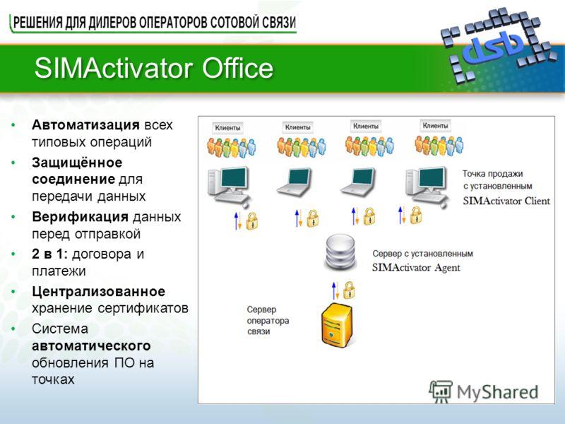 SIMActivator Office Автоматизация всех типовых операций Защищённое соединение для передачи данных Верификация данных перед отправкой 2 в 1: договора и платежи Централизованное хранение сертификатов Система автоматического обновления ПО на точках