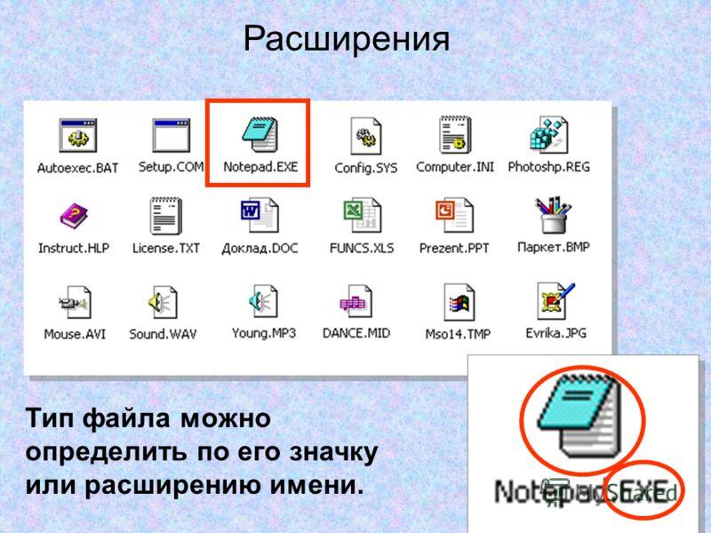 Тип файла можно определить по его значку или расширению имени. Расширения