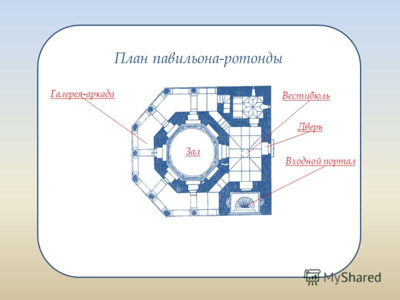 Восьмигранный зал павильона-ротонды перекрыт каменным куполом. Зал окружен с трех сторон – севера, запада и востока галереей-аркадой.