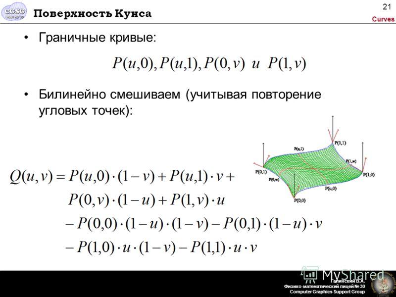 Curves Галинский В.А. Физико-математический лицей 30 Computer Graphics Support Group 21 Поверхность Кунса Граничные кривые: Билинейно смешиваем (учитывая повторение угловых точек):