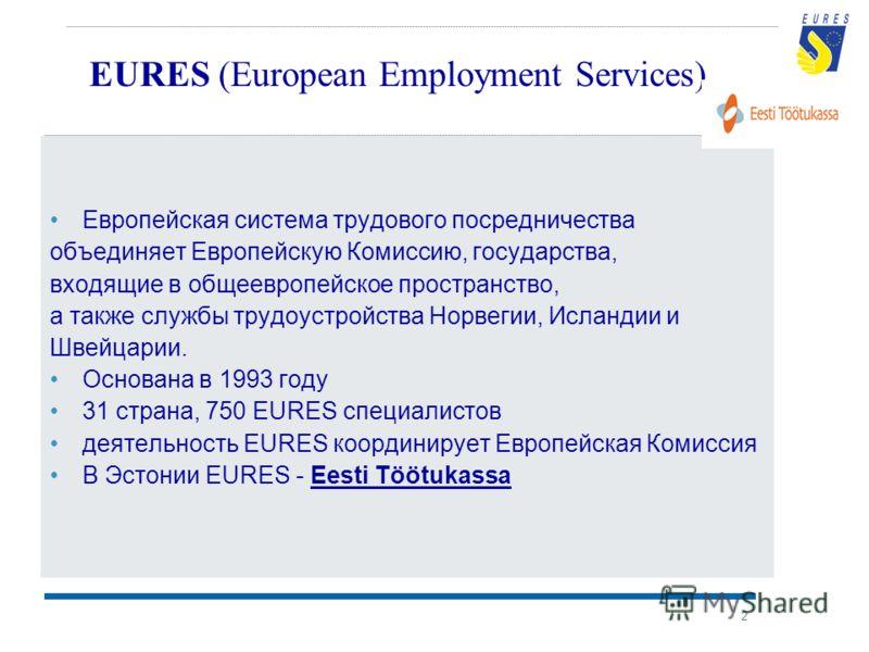2 EURES (European Employment Services) Европейская система трудового посредничества объединяет Европейскую Комиссию, государства, входящие в общеевропейское пространство, а также службы трудоустройства Норвегии, Исландии и Швейцарии. Основана в 1993