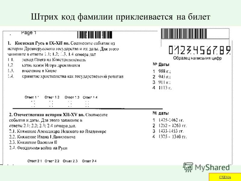 Штрих код фамилии приклеивается на билет СХЕМА