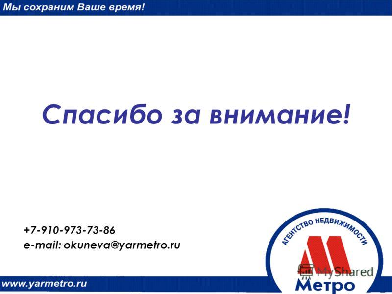 Спасибо за внимание! +7-910-973-73-86 e-mail: okuneva@yarmetro.ru
