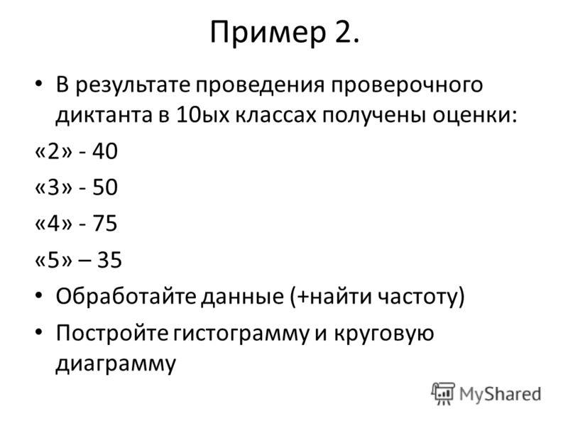 Пример 2. В результате проведения проверочного диктанта в 10ых классах получены оценки: «2» - 40 «3» - 50 «4» - 75 «5» – 35 Обработайте данные (+найти частоту) Постройте гистограмму и круговую диаграмму