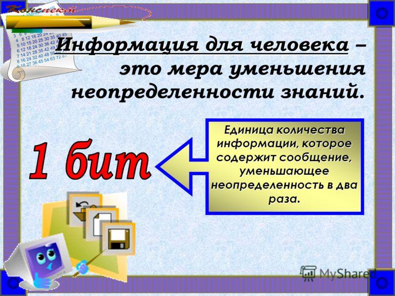 Информация для человека Информация для человека – это мера уменьшения неопределенности знаний. Единица количества информации, которое содержит сообщение, уменьшающее неопределенность в два раза.