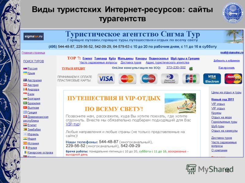 16 Виды туристских Интернет-ресурсов: сайты турагентств