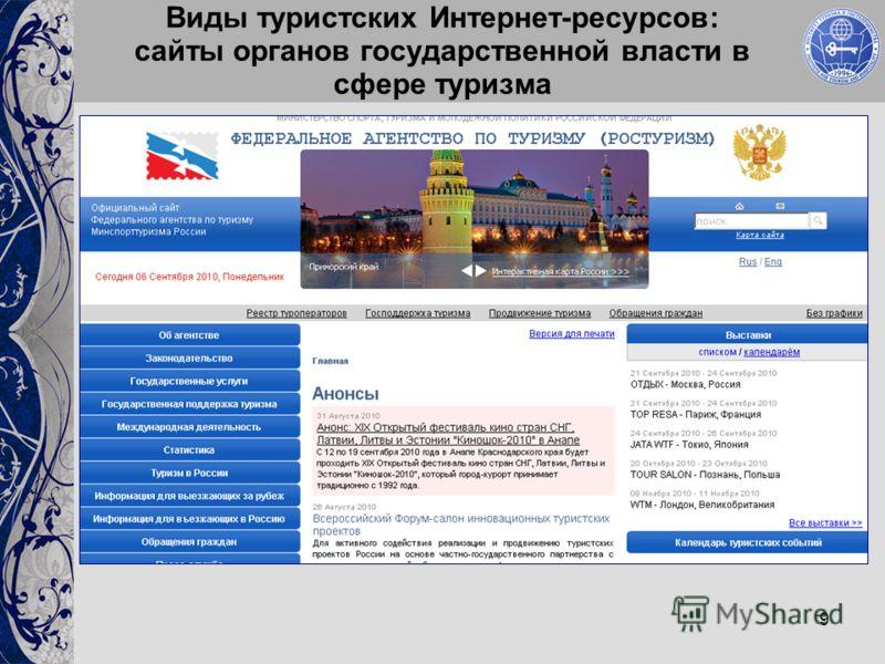 9 Виды туристских Интернет-ресурсов: сайты органов государственной власти в сфере туризма