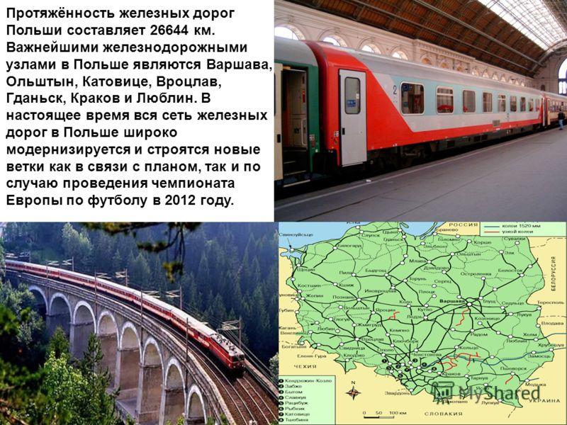 Протяжённость железных дорог Польши составляет 26644 км. Важнейшими железнодорожными узлами в Польше являются Варшава, Ольштын, Катовице, Вроцлав, Гданьск, Краков и Люблин. В настоящее время вся сеть железных дорог в Польше широко модернизируется и с