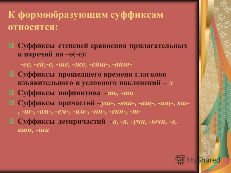 К формообразующим суффиксам относятся: Суффиксы степеней сравнения прилагательных и наречий на –о(-е): -ее, -ей,-е, -ше, -же, -ейш-, -айш- Суффиксы прошедшего времени глаголов изъявительного и условного наклонений – л Суффиксы инфинитива –ть, -ти Суф