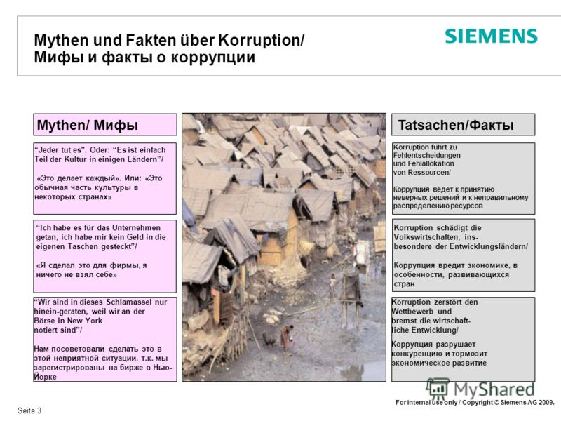 For internal use only / Copyright © Siemens AG 2009. Seite 3 Mythen und Fakten über Korruption/ Мифы и факты о коррупции Mythen/ Мифы Jeder tut es