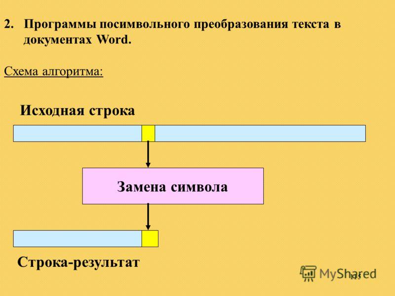 115 2.Программы посимвольного преобразования текста в документах Word. Схема алгоритма: Замена символа Исходная строка Строка-результат