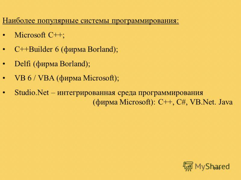 140 Наиболее популярные системы программирования: Microsoft C++; C++Builder 6 (фирма Borland); Delfi (фирма Borland); VB 6 / VBA (фирма Microsoft); Studio.Net – интегрированная среда программирования (фирма Microsoft): C++, C#, VB.Net. Java