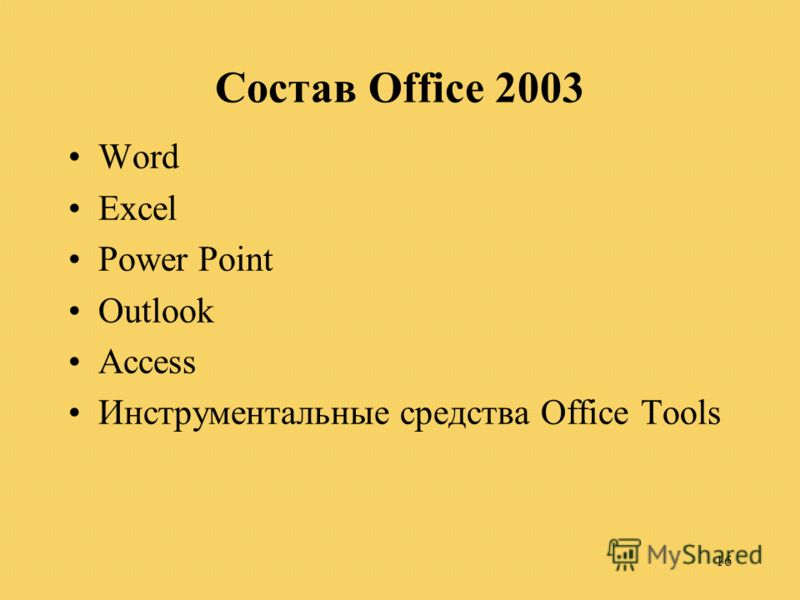 16 Состав Office 2003 Word Excel Power Point Outlook Access Инструментальные средства Office Tools