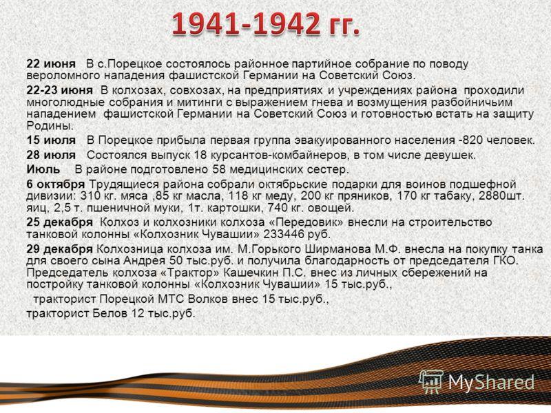 22 июня В с.Порецкое состоялось районное партийное собрание по поводу вероломного нападения фашистской Германии на Советский Союз. 22-23 июня В колхозах, совхозах, на предприятиях и учреждениях района проходили многолюдные собрания и митинги с выраже