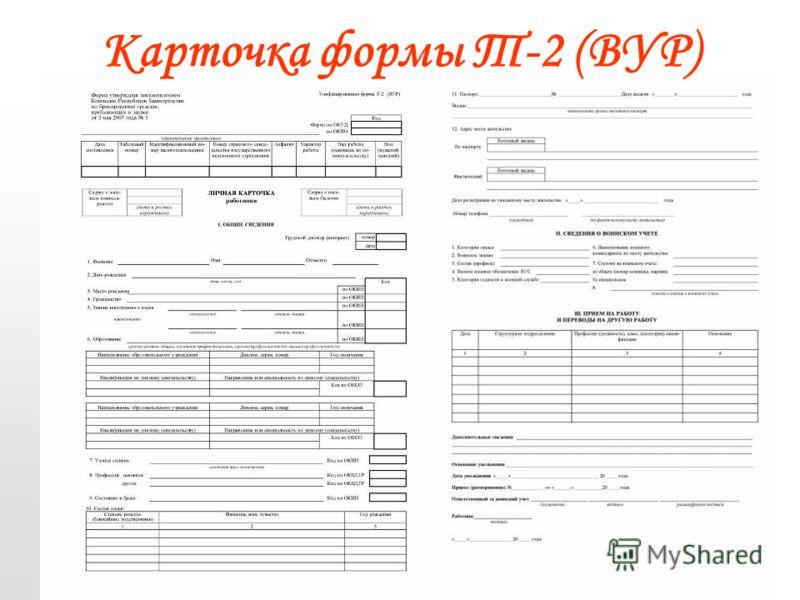 ИМЗ 24-25 марта 2008 г.14 Карточка формы Т-2 (ВУР)