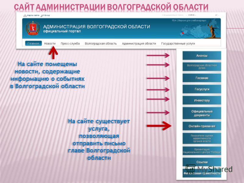 На сайте помещены новости, содержащие информацию о событиях в Волгоградской области На сайте существует услуга, позволяющая отправить письмо главе Волгоградской области