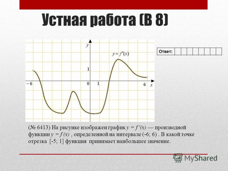 Устная работа (В 8) ( 6413) На рисунке изображен график y = f (x) производной функции y = f (x), определенной на интервале (-6; 6). В какой точке отрезка [-5; 1] функция принимает наибольшее значение. Ответ: