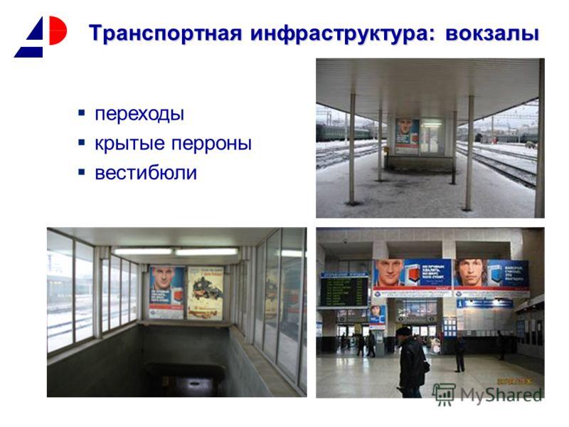 Транспортная инфраструктура: вокзалы переходы крытые перроны вестибюли