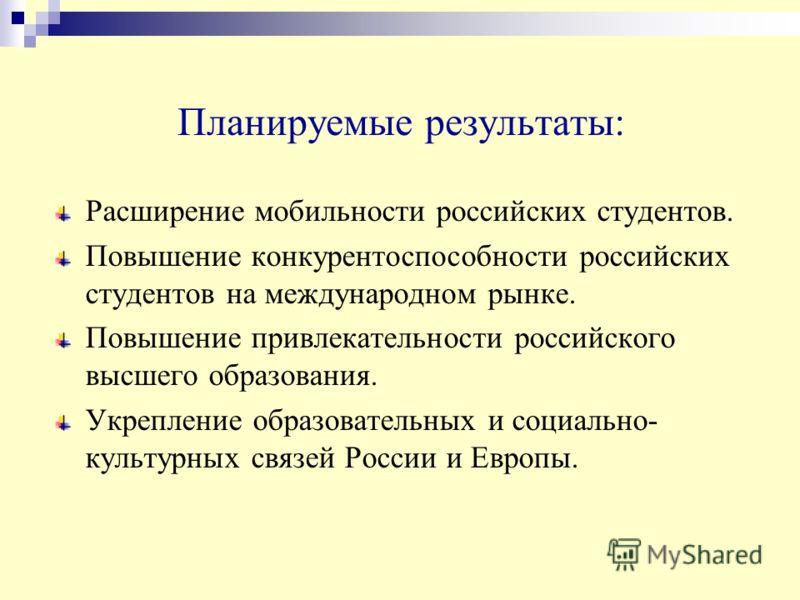 Планируемые результаты: Расширение мобильности российских студентов. Повышение конкурентоспособности российских студентов на международном рынке. Повышение привлекательности российского высшего образования. Укрепление образовательных и социально- кул