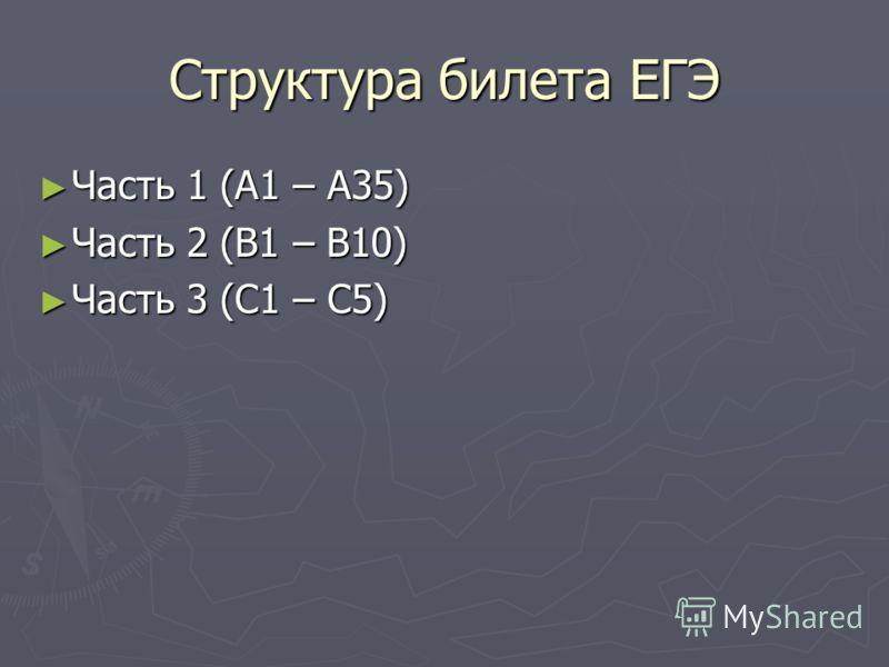 Структура билета ЕГЭ Часть 1 (А1 – А35) Часть 1 (А1 – А35) Часть 2 (В1 – В10) Часть 2 (В1 – В10) Часть 3 (С1 – С5) Часть 3 (С1 – С5)