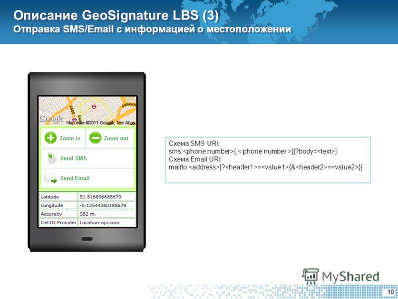 10 Описание GeoSignature LBS (3) Отправка SMS/Email с информацией о местоположении Схема SMS URI: sms: {, }[?body= ] Схема Email URI: mailto: [? = {& = }]