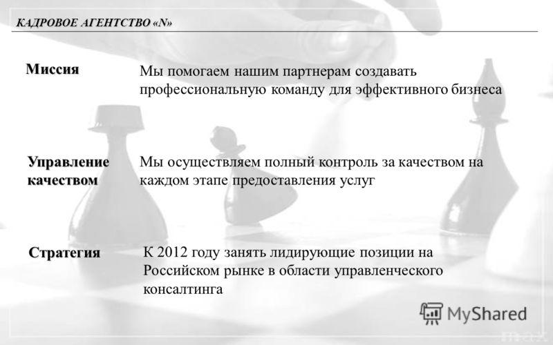 КАДРОВОЕ АГЕНТСТВО «N» Миссия Мы помогаем нашим партнерам создавать профессиональную команду для эффективного бизнеса Управлениекачеством Мы осуществляем полный контроль за качеством на каждом этапе предоставления услуг Стратегия К 2012 году занять л