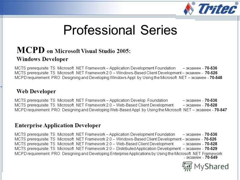 Professional Series MCTS prerequisite: TS: Microsoft.NET Framework – Application Development Foundation – экзамен - 70-536 MCTS prerequisite: TS: Microsoft.NET Framework 2.0 – Windows-Based Client Development – экзамен - 70-526 MCPD requirement: PRO: