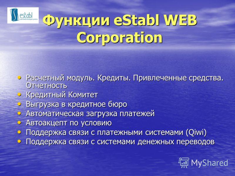 Функции eStabl WEB Corporation Расчетный модуль. Кредиты. Привлеченные средства. Отчетность Расчетный модуль. Кредиты. Привлеченные средства. Отчетность Кредитный Комитет Кредитный Комитет Выгрузка в кредитное бюро Выгрузка в кредитное бюро Автоматич