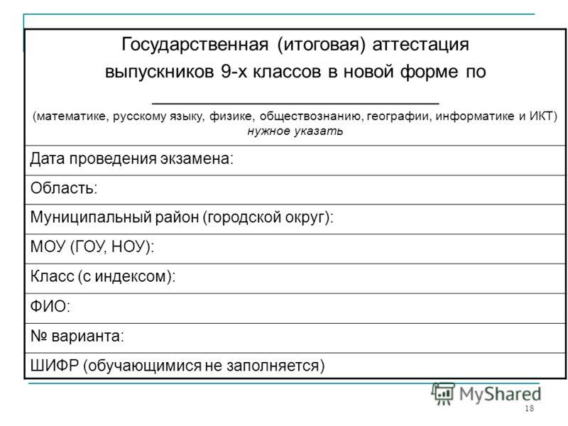 18 Государственная (итоговая) аттестация выпускников 9-х классов в новой форме по ___________________________ (математике, русскому языку, физике, обществознанию, географии, информатике и ИКТ) нужное указать Дата проведения экзамена: Область: Муницип