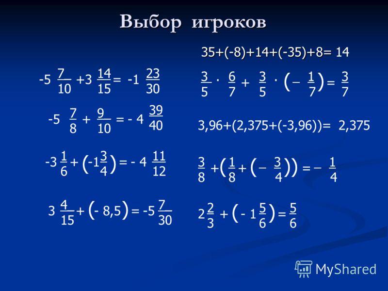 Выбор игроков 35+(-8)+14+(-35)+8= -5 7_ 10 +3 14 15 = 23 30 -5 7878 + 9_ 10 =- 4 39 40 -3 1616 + ( 3434 ) =- 4 11 12 3 4_ 15 + ( - 8,5 ) =-5 7_ 30 14 3. 5 6767 + 3. 5 ( _ 1 7 ) = 3737 3,96+(2,375+(-3,96))=2,375 3838 + ( 1818 + ( _ 3 4 )) = _ 1 4 2 23