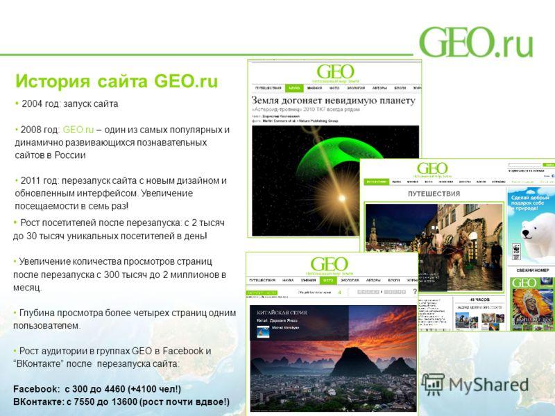 История сайта GEO.ru 2004 год: запуск сайта 2008 год: GEO.ru – один из самых популярных и динамично развивающихся познавательных сайтов в России 2011 год: перезапуск сайта с новым дизайном и обновленным интерфейсом. Увеличение посещаемости в семь раз