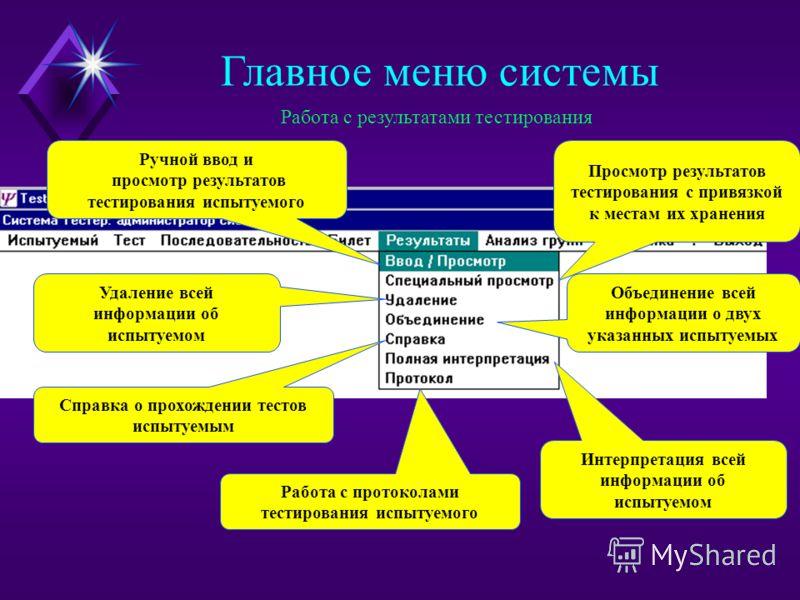 ШАБЛОН Результат в базе системы БИЛЕТ ТЕСТИРОВАНИЕ Главное меню системы Выбор шаблона для автоматического построения индивидуального билета