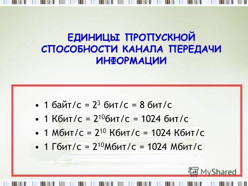 ЕДИНИЦЫ ПРОПУСКНОЙ СПОСОБНОСТИ КАНАЛА ПЕРЕДАЧИ ИНФОРМАЦИИ 1 байт/с = 2 3 бит/с = 8 бит/с 1 Кбит/с = 2 10 бит/с = 1024 бит/с 1 Мбит/с = 2 10 Кбит/с = 1024 Кбит/с 1 Гбит/с = 2 10 Мбит/с = 1024 Мбит/с