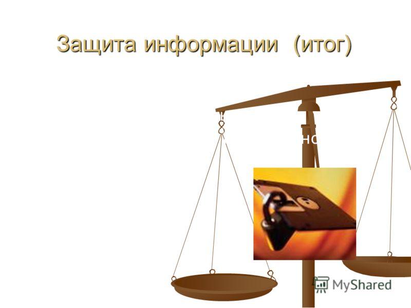 10 Защита информации (итог) «абсолютной» защиты нет защита должна быть комплексной («со всех сторон»)