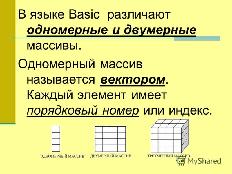 В языке Basic различают одномерные и двумерные массивы. Одномерный массив называется вектором. Каждый элемент имеет порядковый номер или индекс.