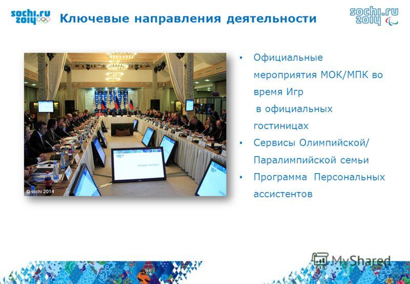 Официальные мероприятия МОК/МПК во время Игр в официальных гостиницах Сервисы Олимпийской/ Паралимпийской семьи Программа Персональных ассистентов Ключевые направления деятельности