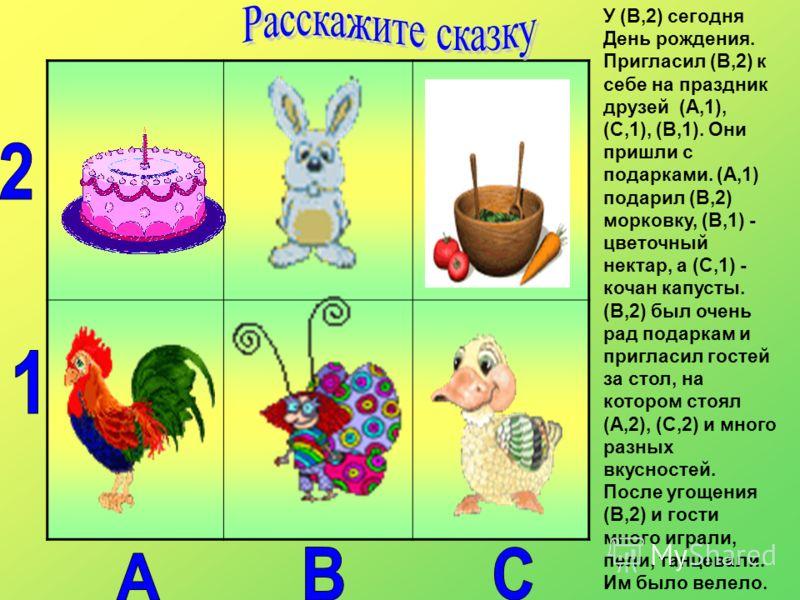 У (В,2) сегодня День рождения. Пригласил (В,2) к себе на праздник друзей (А,1), (С,1), (В,1). Они пришли с подарками. (А,1) подарил (В,2) морковку, (В,1) - цветочный нектар, а (С,1) - кочан капусты. (В,2) был очень рад подаркам и пригласил гостей за