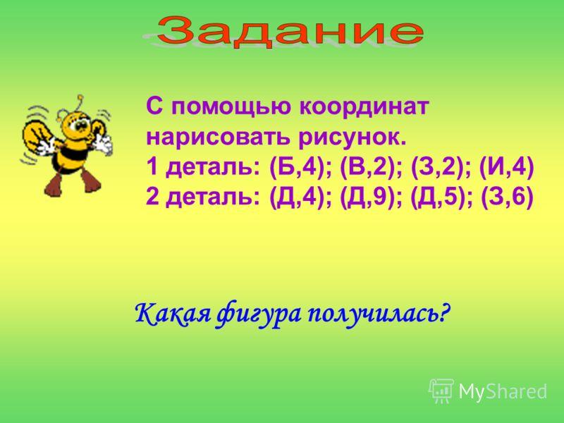 С помощью координат нарисовать рисунок. 1 деталь: (Б,4); (В,2); (З,2); (И,4) 2 деталь: (Д,4); (Д,9); (Д,5); (З,6) Какая фигура получилась?