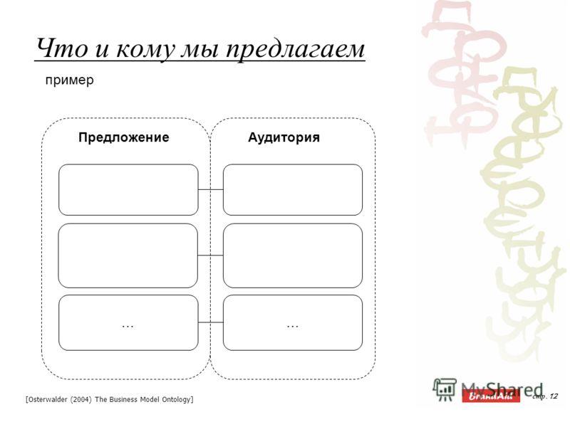 стр. 12 Что и кому мы предлагаем АудиторияПредложение …… [Osterwalder (2004) The Business Model Ontology] пример