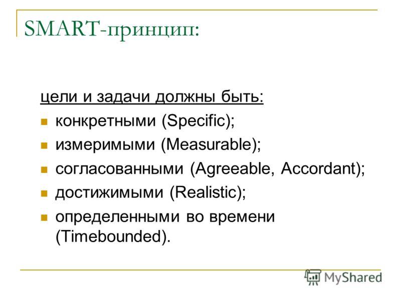 SMART-принцип: цели и задачи должны быть: конкретными (Specific); измеримыми (Measurable); согласованными (Agreeable, Accordant); достижимыми (Realistic); определенными во времени (Timebounded).