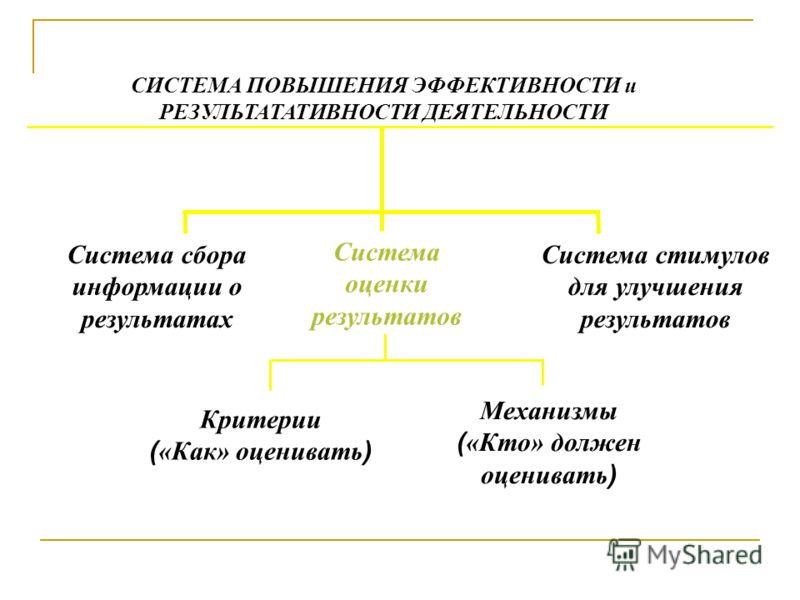 Система сбора информации о результатах Критерии ( «Как» оценивать ) Система оценки результатов Механизмы ( «Кто» должен оценивать ) СИСТЕМА ПОВЫШЕНИЯ ЭФФЕКТИВНОСТИ и РЕЗУЛЬТАТАТИВНОСТИ ДЕЯТЕЛЬНОСТИ Система стимулов для улучшения результатов