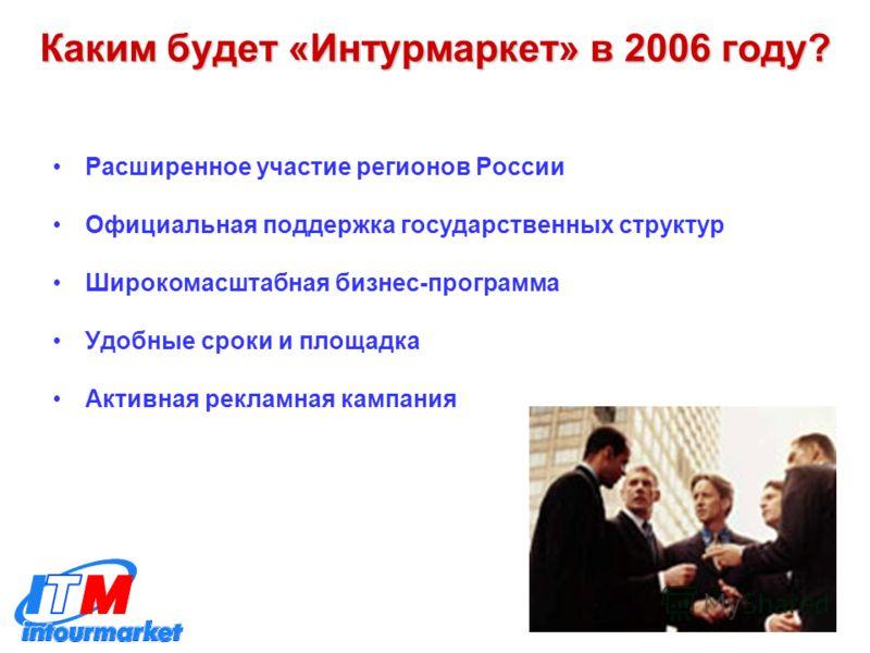 Каким будет «Интурмаркет» в 2006 году? Расширенное участие регионов России Официальная поддержка государственных структур Широкомасштабная бизнес-программа Удобные сроки и площадка Активная рекламная кампания