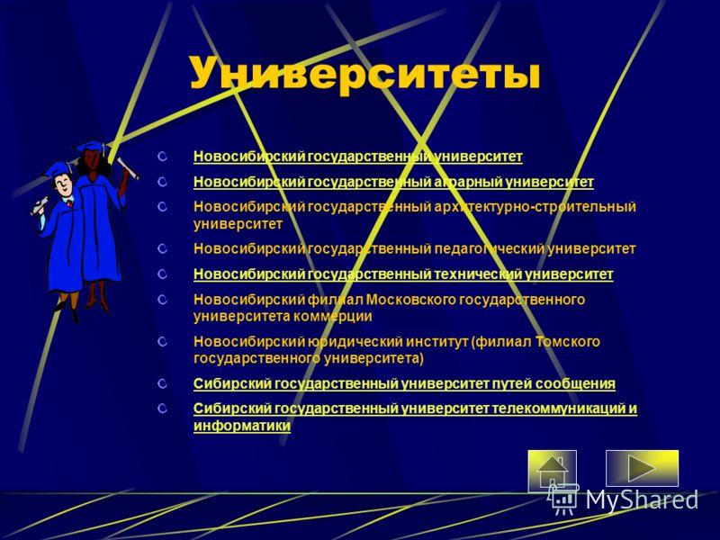 Университеты Новосибирский государственный университет Новосибирский государственный аграрный университет Новосибирский государственный архитектурно-строительный университет Новосибирский государственный педагогический университет Новосибирский госуд